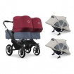 BUGABOO DONKEY2 twin 4W1 black/blue melange/ruby red