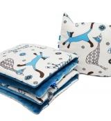 KOCYK MINKY 110X135+PODUSZKA koty niebieskie