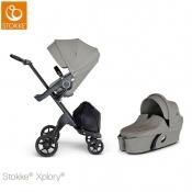 -WÓZEK STOKKE® XPLORY®V6 2W1 black/brushed grey