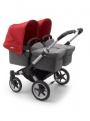 BUGABOO DONKEY3  TWIN alu/grey melange/red